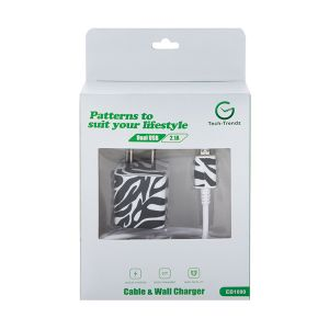 Android Cable and Wall Charger - Zebra