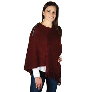 Poncho with Zipper Accent - Burgundy