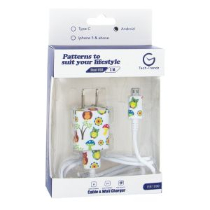 Android Patterned Cable and Wall Charger - Owl