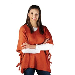 V-Neck Poncho with Side Ties - Rust