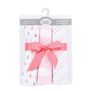 3-Pack Flannel Receiving Blankets - Pink