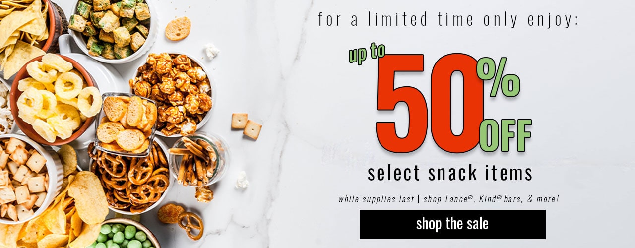 Enjoy up to 50% off select snack items!
